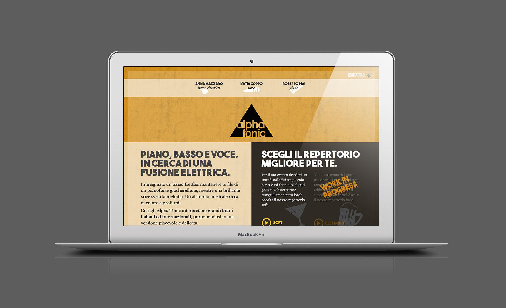 Mockup sito web degli Alpha Tonic