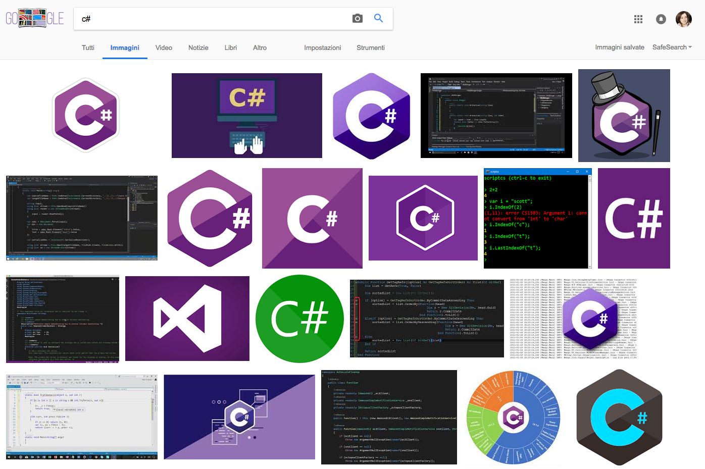 Screenshot della ricerca per immagini della parola C#